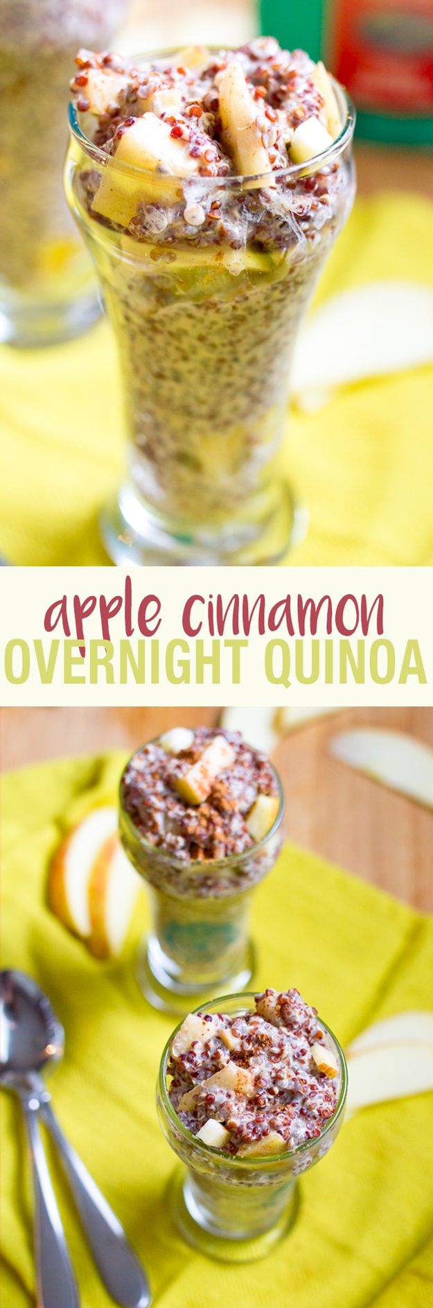 Apple-Cinnamon-Overnight-Quinoa-•¾ cup cooked red or white quinoa •1 cup unsweetened almond milk •1 Tablespoon chia seeds •1 Tablespoon vanilla protein powder (I used a plant-based protein powder) •½ teaspoon vanilla •½ teaspoon cinnamon •½ apple, chopped •2-3 drops liquid stevia