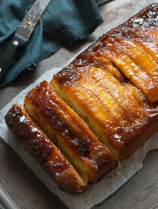 Vegetarian- Low FODMAP Recipe and Gluten Free Recipe - Upside-down banana cake with maple-caramel sauce