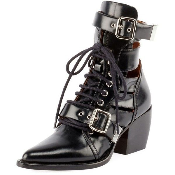 90d764afc4 Chloé Riley LaceUp Box Calf Boot ($1,390) ❤ liked on Polyvore ...