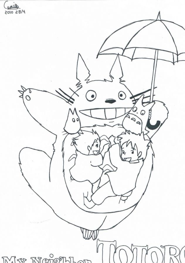 totoro simple coloring pages free to print