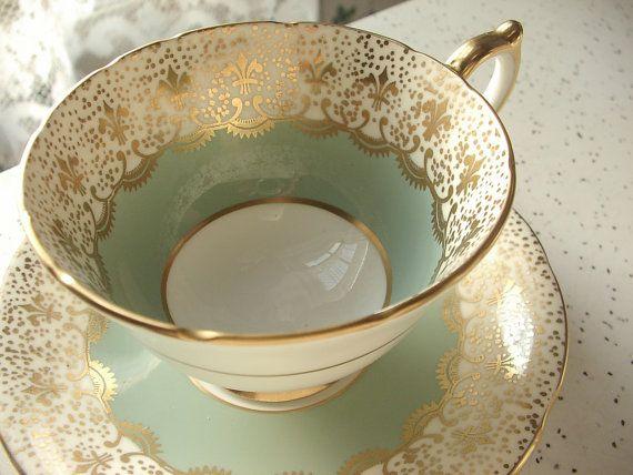 Vintage 1950's Aynsley cup and saucer, antique tea cup set, sage green and gold fleur de lis tea cup set, English tea set bone china tea cup...