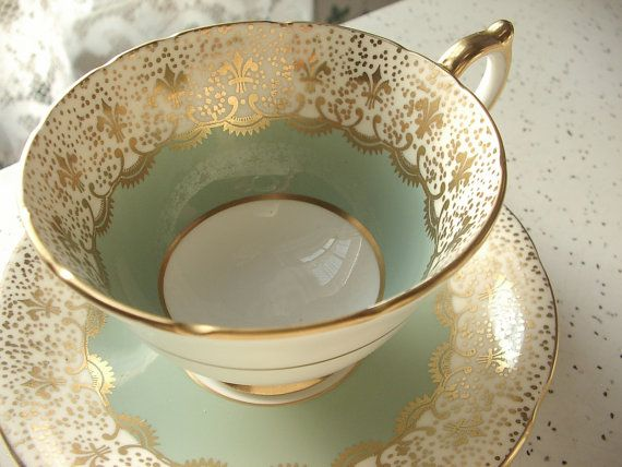 Vintage 1950's Aynsley cup and saucer, antique tea cup set, sage green and gold fleur de lis tea cup set, English tea set bone china tea cup...