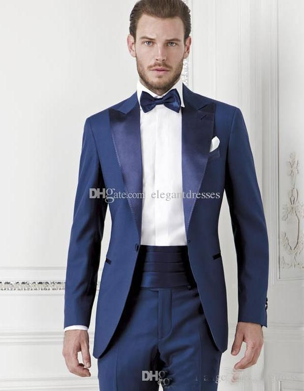 Bright Blue One Button Groom suits for Wedding 2017The Best Man Suits For mens Suits Business Party tuxedos (Pant+Jacket+Tie) Custom Made