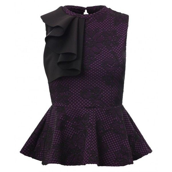 Irma Purple All Over Floral Crochet Lace Embossed Half Frill Overlay Peplum Style Bodycon Top found on Polyvore