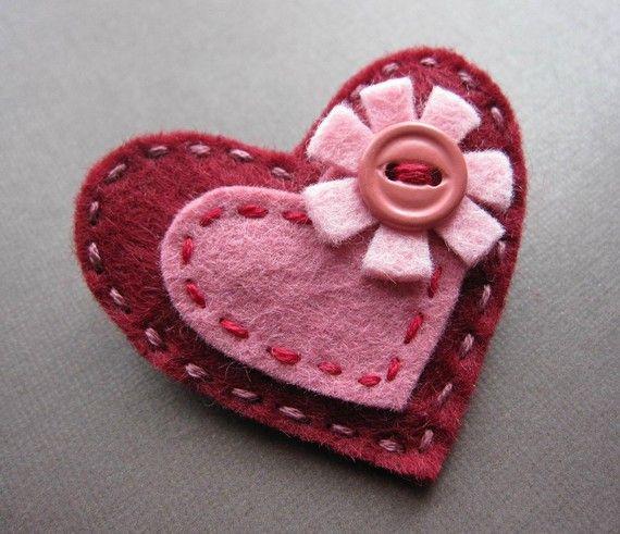 Flowering Hearts in Garnet and Rose felt brooch by soleilgirl