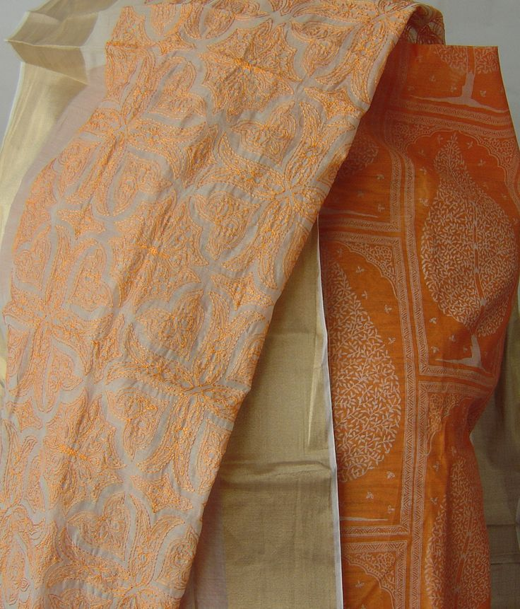 Printed Chanderi suit with zari border embroidered dupatta. For orders and inquiries, please mail us at naari@aninditacreations.com.  Like us at www.facebook.com/naari.aninditacreations