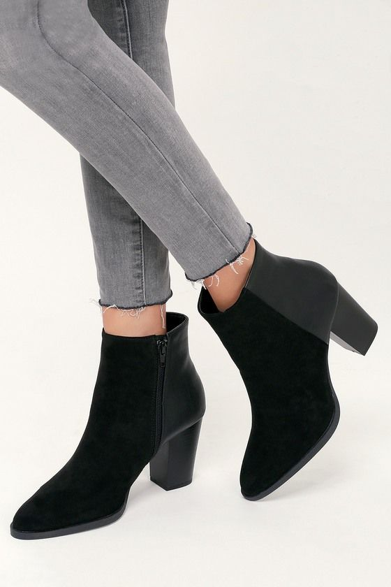fbc5ee024a7b0 Lulus | Annelise Black Suede Ankle Booties | Size 6 | Vegan Friendly ...