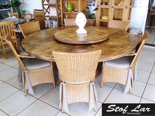 Stof Lar Decorações - Móveis em Madeira de Demolição : Mesa redonda com madeira de laminado Naval  + 6 ca...