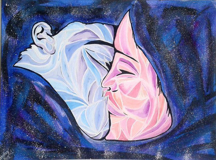 арт рисунок космос иллюстрация поцелуй art drawing atatay kiss space
