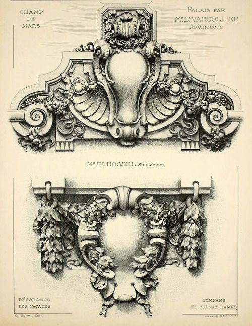 Detalhe do design de fachada do Palácio no Champ de Mars em Paris, para a FEIRA UNIVERSAL de 1900.