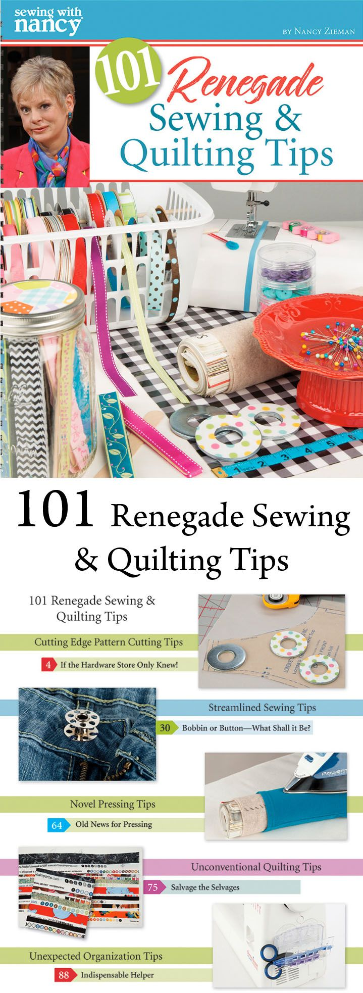 Make sewing trouble-free with 101 unconventional hacks. Known for breaking sewing and quilting rules, Nancy Zieman shows you how to use household items to save time and money in your sewing room, plus learn novel ways to organize sewing and quilting supplies. Nancy's Notions - Sewing With Nancy