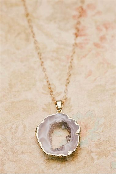 golden wrapped agate stone necklace