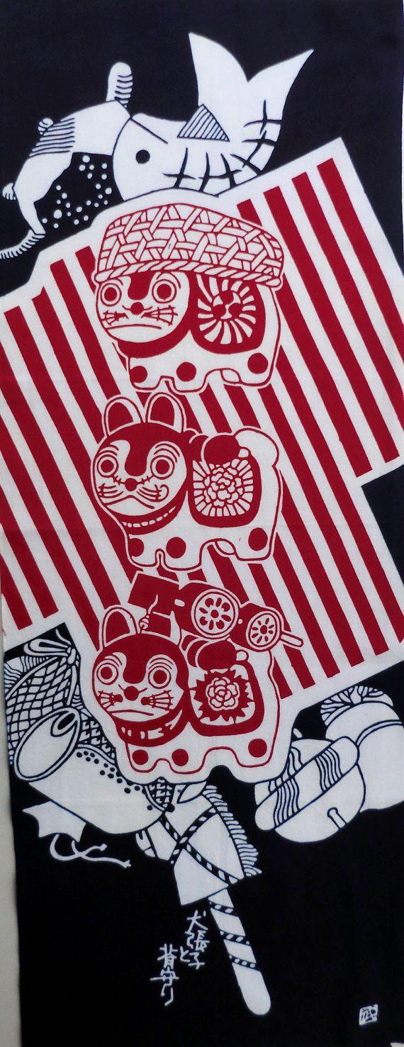 Japanese dog fabric tenugui, Japanese Okinawa dogs cotton, Japanese indigo blue…