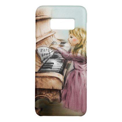 Samsung Galaxy vintage case - Piano Girl - kids kid child gift idea diy personalize design