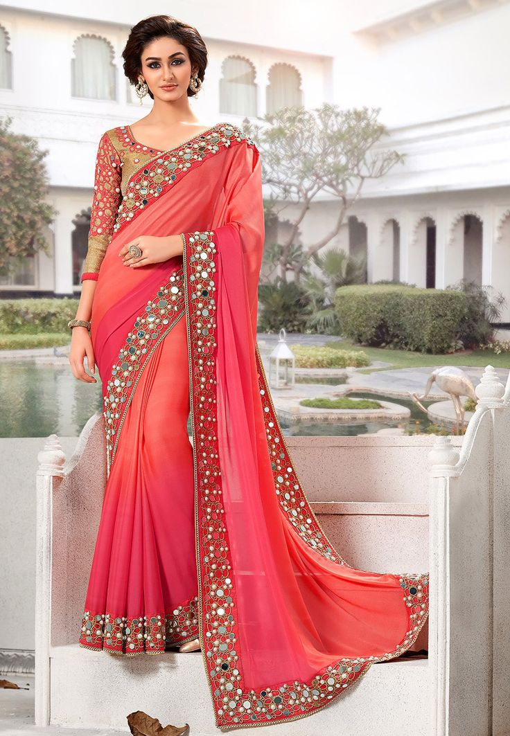 Buy Shaded Fuchsia and Peach Art Satin Saree with Blouse online, work: Embroidered, color: Fuschia / Peach, usage: Party, category: Sarees, fabric: Satin, price: $118.55, item code: SXZ2601, gender: women, brand: Utsav