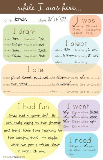 Nanny/Sitter Notes to communicate how the time went w/ kiddos
