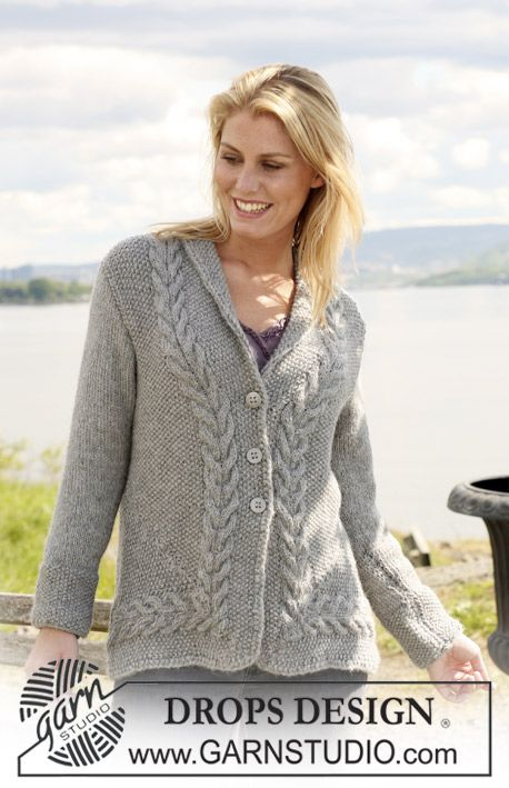 """DROPS 108-52 - Knitted DROPS Jacket in moss st with cables in """"Silke-Alpaca"""". Size S - XXXL. - Free pattern by DROPS Design"""