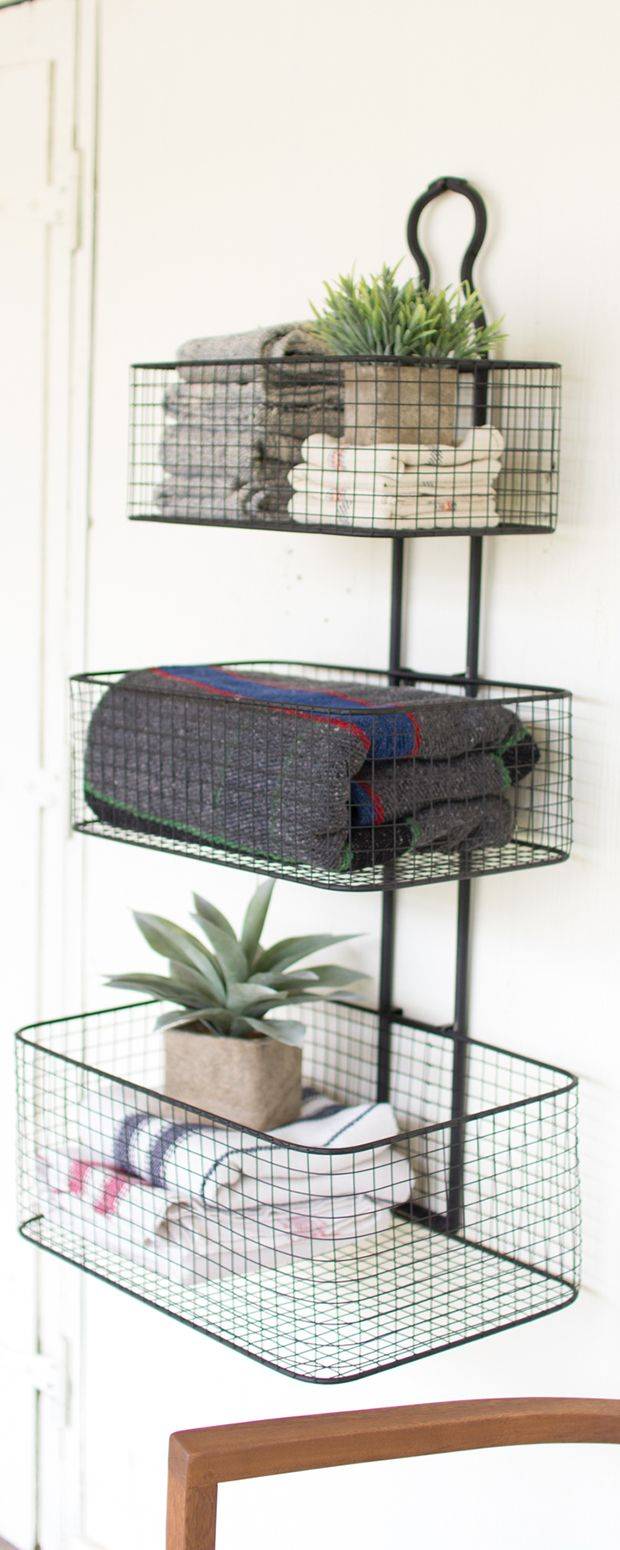With its clean, contemporary design, this Rory 3-Tier Wall Basket is the solution to all of your organizational woes. With a sleek metal construction, this handy accessory features three differently si...  Find the Rory 3-Tier Wall Basket, as seen in the Vintage Industrial Bath Collection at http://dotandbo.com/collections/vintage-industrial-bath?utm_source=pinterest&utm_medium=organic&db_sku=115037