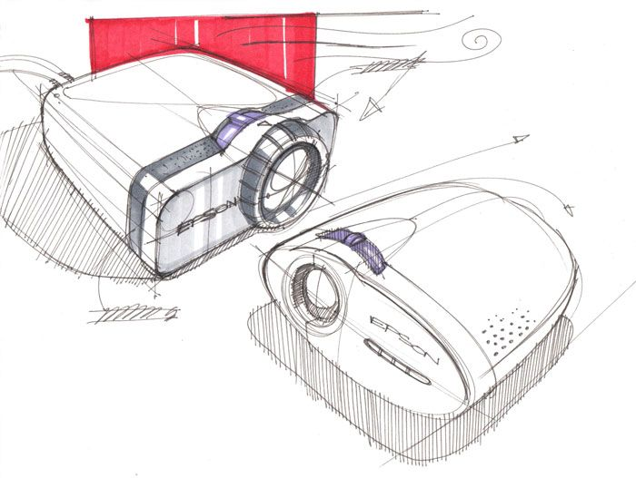 Sketches of projectors by designer Spencer Nugent