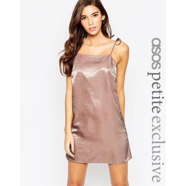 3551e953745 ASOS PETITE Exclusive Satin Mini Cami Dress with 90s High Neck   Tie... (69  RON) ❤ liked on Polyvore featuring dresses