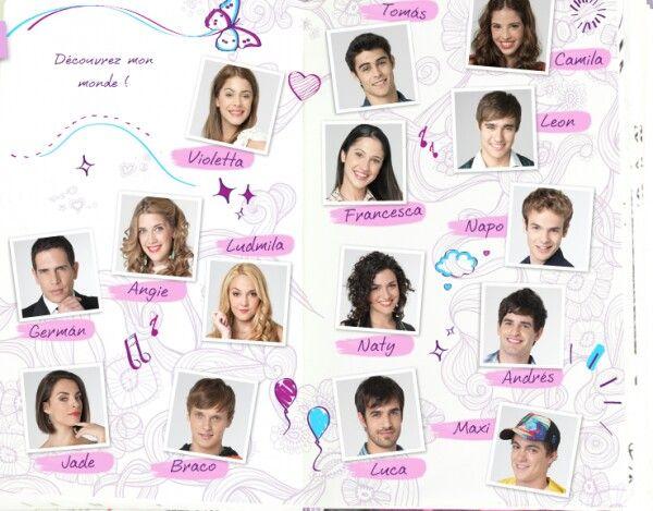 Les personnages de Violetta