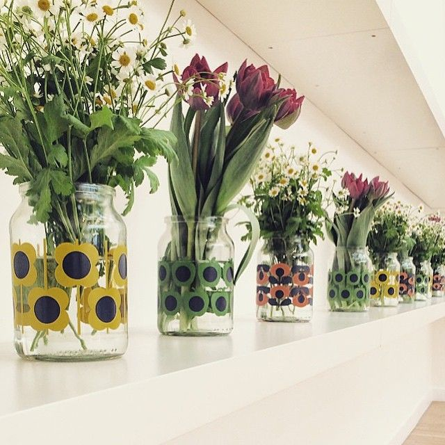 Orla Kiely up cycled coffee jars