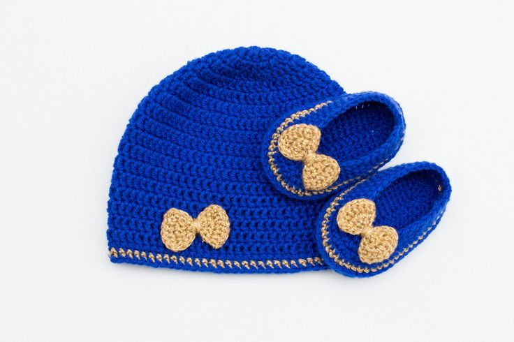 Royal Blue and Gold Crochet Baby Set, Hat and Ballerinas, Crochet Hat,Crochet…