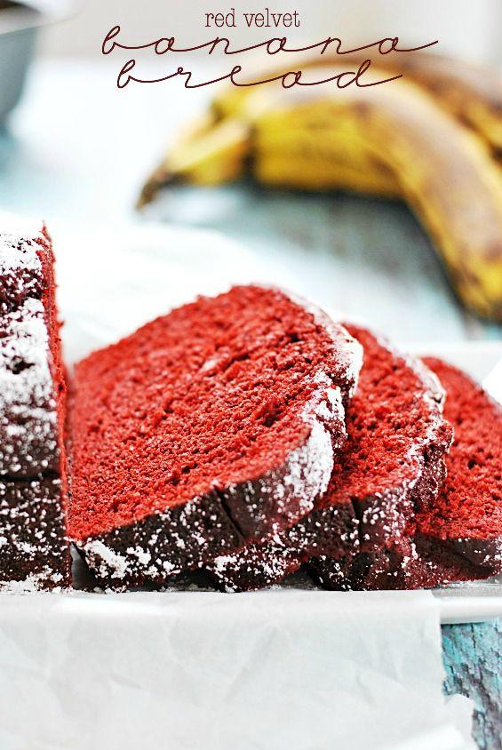 Red Velvet Banana Bread | www.somethingswanky.com @Emily Foley Swanky