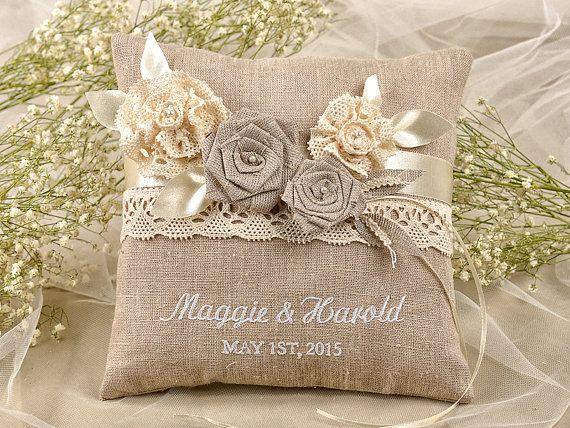 Shabby Schick Pillow Wedding  Bearer Pillow Ring by DecorisWedding, $38.00   Inspirations | Bride & Groom