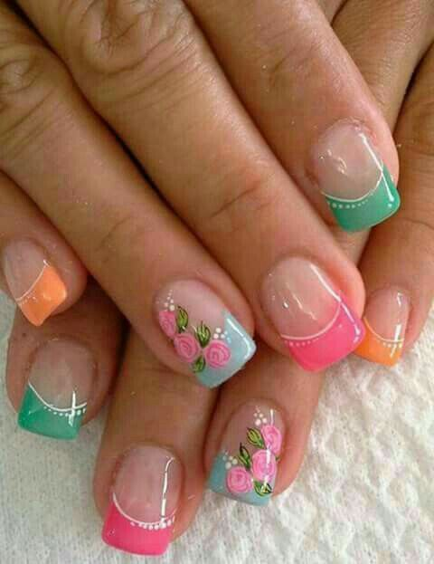 Nail tip art with colorful tips