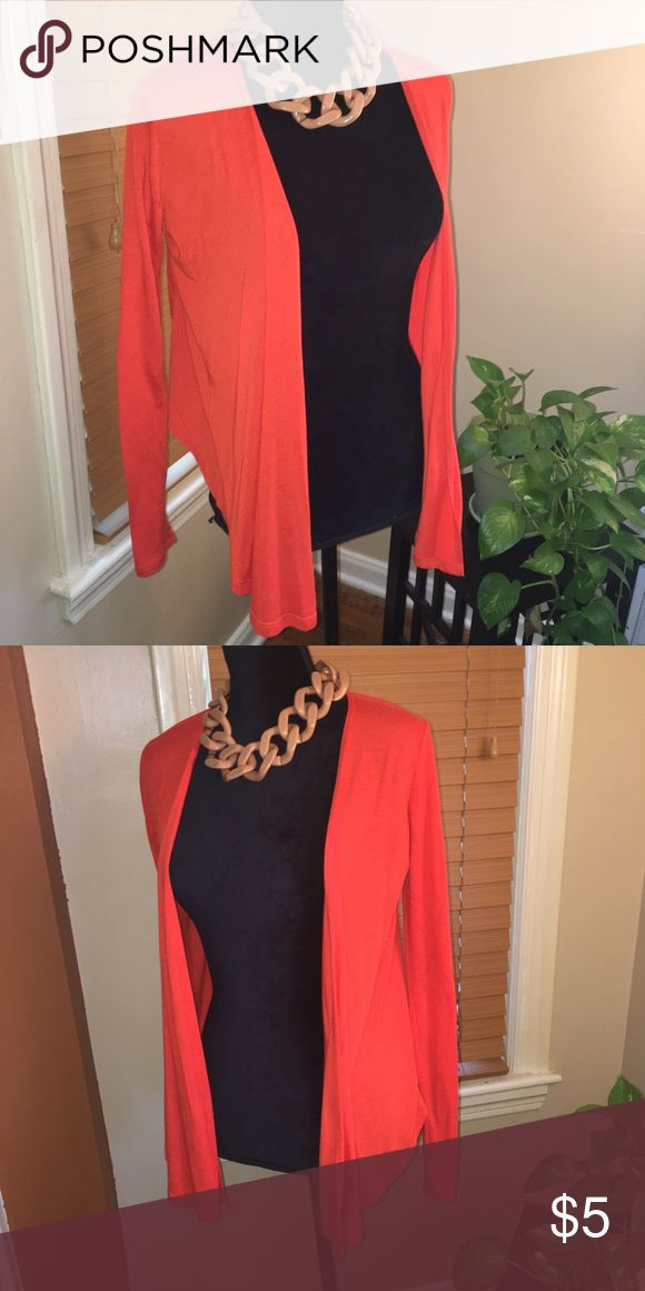 Lightweight open front cardigan Orange open front cardigan. Lightweight and perfect for spring! Size small. *Necklace is not for sale* ALLOY Sweaters Cardigans