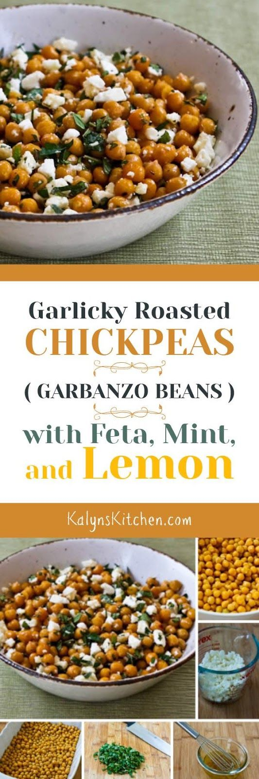 Garlicky Roasted Chickpeas with Feta, Mint, and Lemon are a perfect Meatless Monday dish, and this recipe is also gluten-free and South Beach Diet friendly. [found on KalynsKitchen.com]