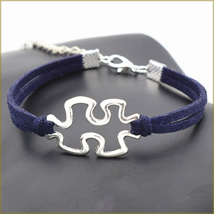 Silver Jigsaw Symbol Autism Charm with Colored Leather Bracelet (10 Colors)