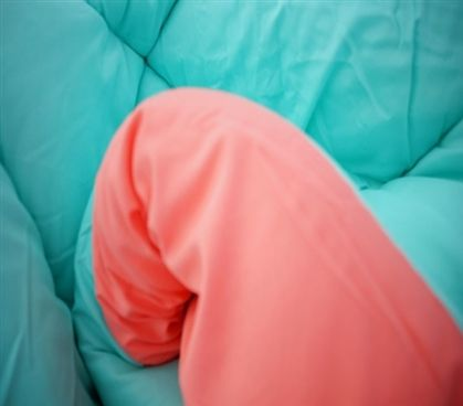 Fusion Coral/Minty Aqua Reversible College Comforter - Twin XL Dorm Bedding For Girls
