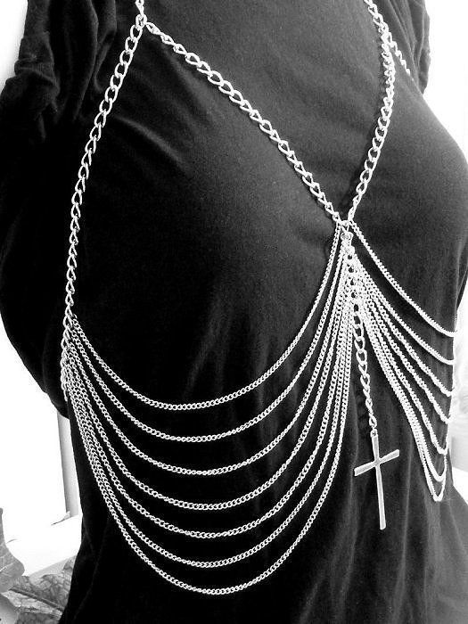 Body Chain Harness Ribcage Large Cross Silver Avant Garde Boho Indie Statement.. Gorgeous jewelry! @modtoast
