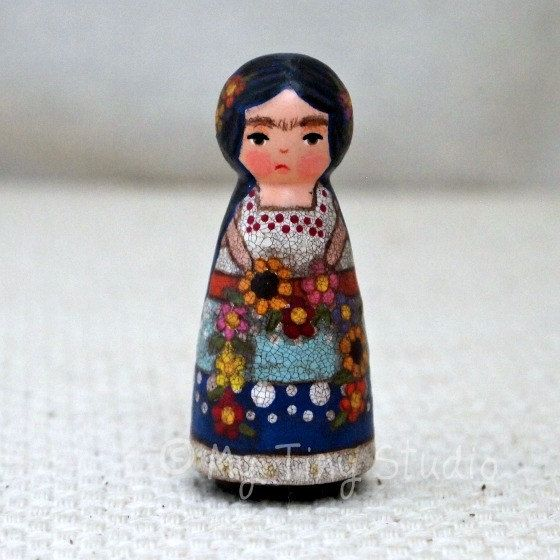 """Tiny Muse Frida Doll Wooden 2"""" inches Tall Flowers"""