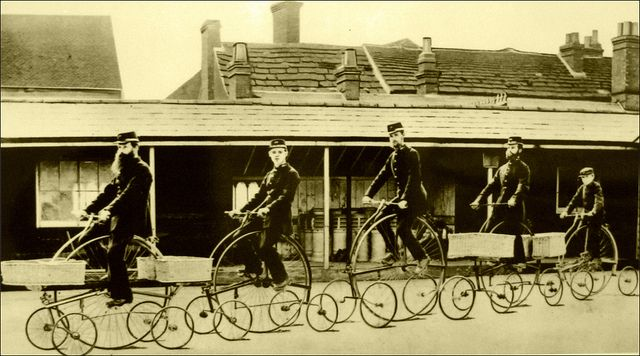 Postmen riding Pentacycles, 1882 by Stuart Axe on Flickr.