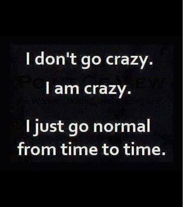 i don't go crazy. i am crazy. // i just go normal from time to time.