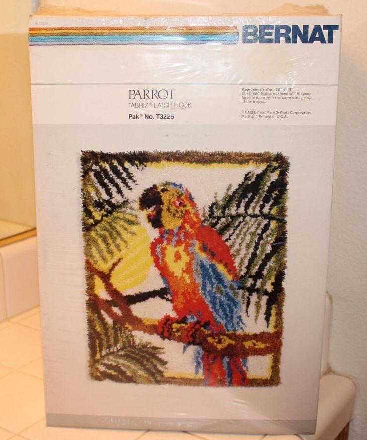 "Bernat PARROT Vintage Latch Hook Rug Kit 28 X 34"" NEW 1980 Bird Tabriz Tropical #Bernat"