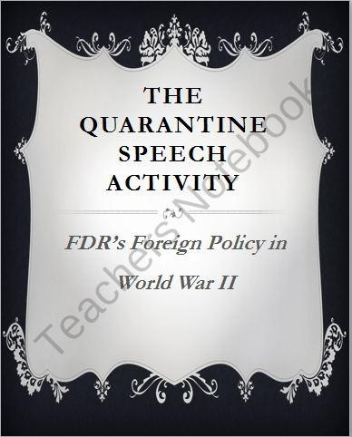 FDR's Quarantine Speech Response Letter (U.S. History) from Chalk Dust Diva Social Science on TeachersNotebook.com (5 pages)