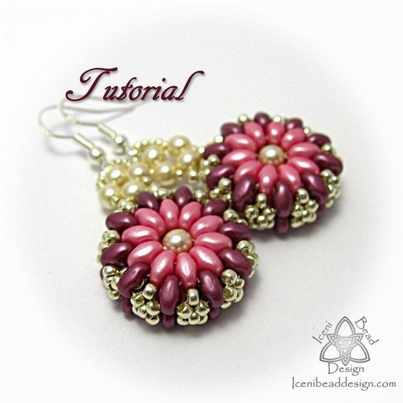 PDF Tutorial Clara Earrings with Super Duo Beads. Pattern, Instructions, beadwork.