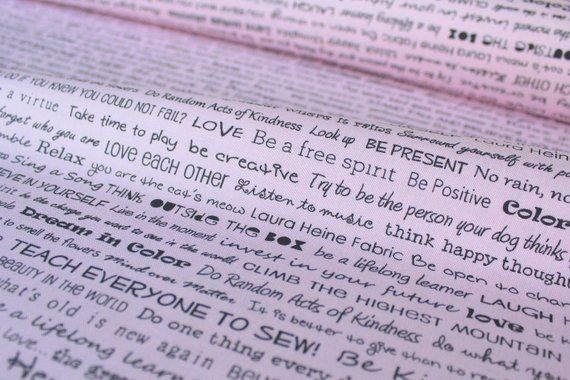 Words to live By in Pink from The Dress fabric collection by Laura Heine for Free Spirit fabrics – Products