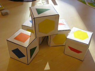 Free Template - Pattern Blocks Dice from Ms. Liebel's Classroom