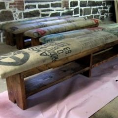 Coffee Sack and Reclaimed Wood Bench by Recycled Brooklyn ($325)