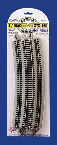 "Bachmann #44507  35.50"" Radius 18 Degree Curved Nickel Silver E-Z Track w/Grey Roadbed (5/card)"