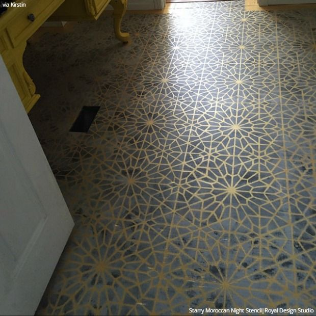 Make Old Floors New & Fabulous with Floor Stencils - 9 DIY Decor Ideas & Floor Makeovers - Royal Design Studio Stencils for Painting