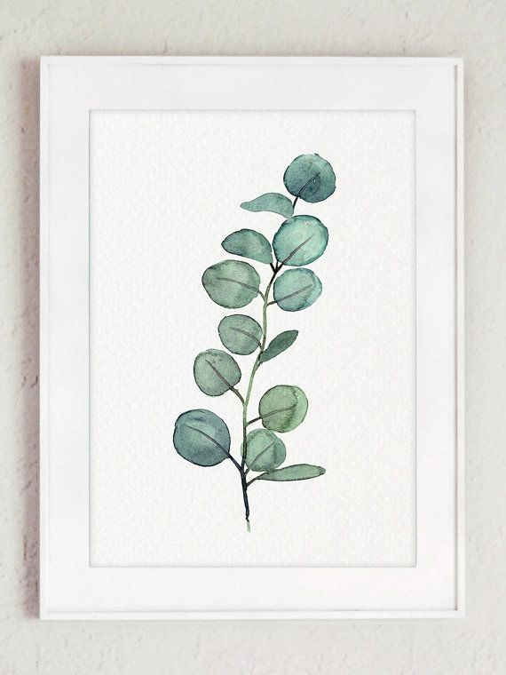 Eucalyptus Branch Watercolor Painting, set of 2 Eucalyptuses Green Living Room Wall Decoration, Scandi Decor Botanical Poster, Kitchen Print