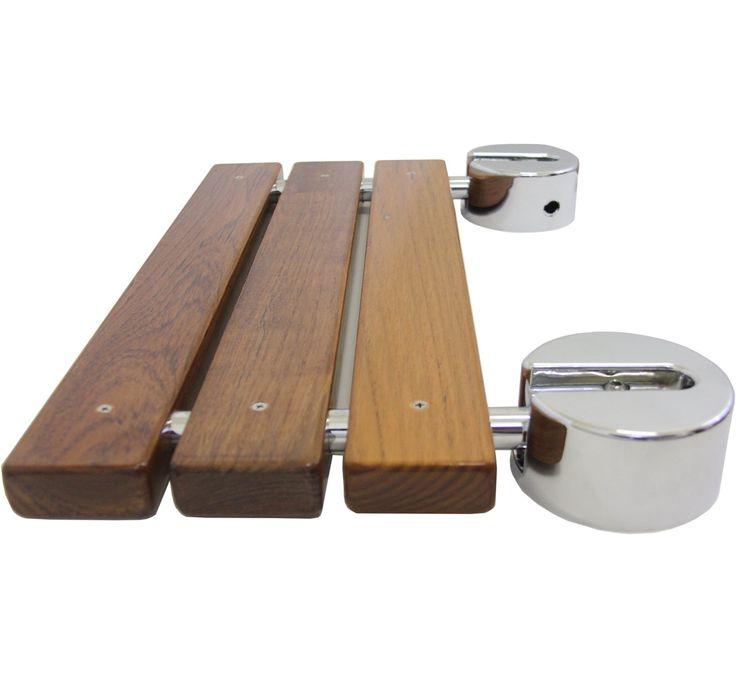 20 Teak Modern Folding Shower Seat Bench Finished Dark Wood Chrome Spa Bath New