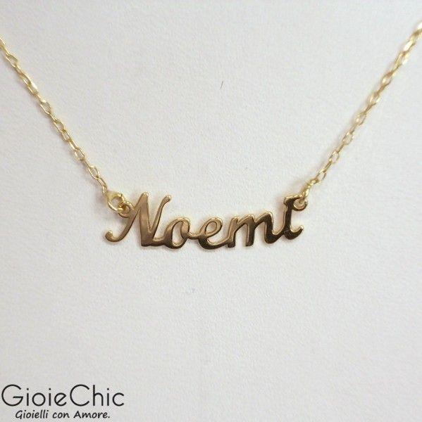 Collana in oro 18Kt (750/1000) con nome Noemi (21x6mm).    Catenina misura 42.  Made in Italy.  Spedizione immediata in 1 giorno lavorativo.