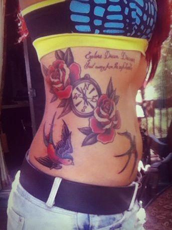 Rose tattoo Rib tattoo Sparrow tattoo!
